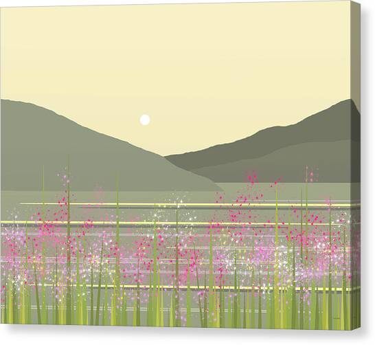 Rolling Hills Canvas Print - Spring On The River by Val Arie