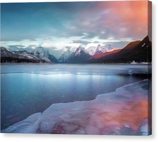 Canvas Print featuring the photograph Spring Thaw / Lake Mcdonald, Glacier National Park  by Nicholas Parker
