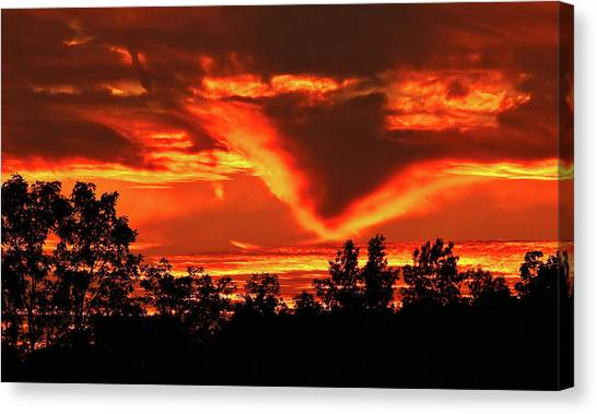 Canvas Print featuring the photograph Springport, Michigan Sunset 4289 by Wesley Elsberry