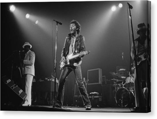 Springsteen Live In New Jersey Canvas Print by Fin Costello