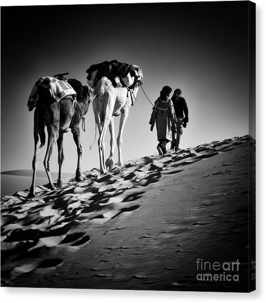 Caravan Canvas Print - Square Black & White Image Of 2 Men And by Abo Photography