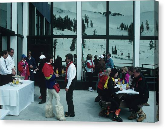 Squaw Valley Cable Car Deck Canvas Print by Slim Aarons