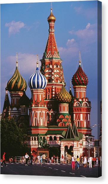 Casual Canvas Print - St Basils Cathedral On Red Square by Richard I'anson