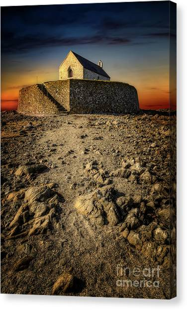 Canvas Print - St Cwyfan Church Sunset by Adrian Evans