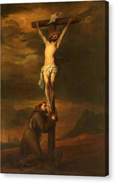 St Francis At The Foot Of The Cross Canvas Print