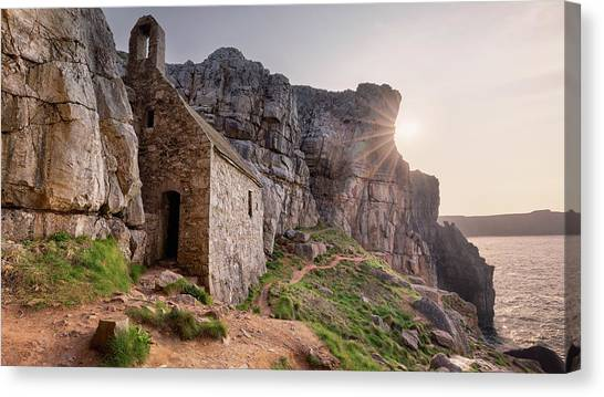 Canvas Print featuring the photograph St. Govan's Chapel Sunrise by Elliott Coleman
