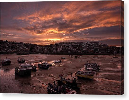 St Ives Cornwall - Harbour Sunset Canvas Print