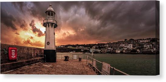St Ives Cornwall - Lighthouse Sunset Canvas Print