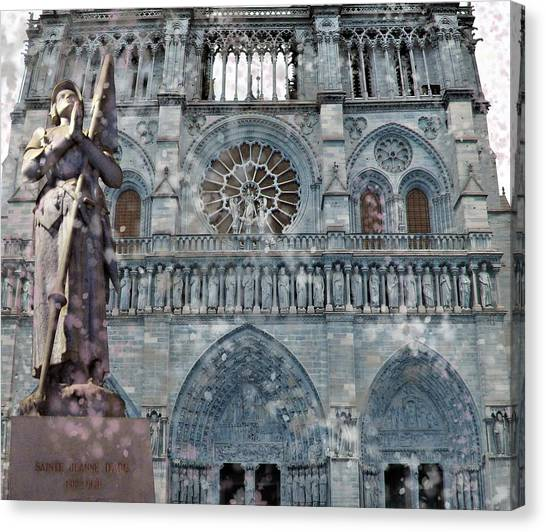 St Joan Of Arc Watch Over Notre Dame Canvas Print