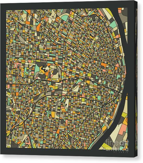 Saint Louis Canvas Print - St Louis Map 2 by Jazzberry Blue