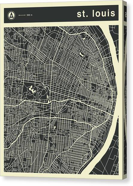 Abstract Skyline Canvas Print - St Louis Map 3 by Jazzberry Blue