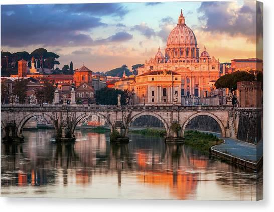 St Peters Basilica, St Angelo Bridge Canvas Print by Joe Daniel Price