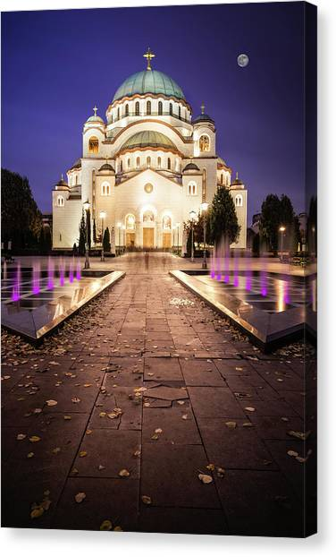 Canvas Print featuring the photograph St. Sava Temple In Belgrade Nightscape by Milan Ljubisavljevic