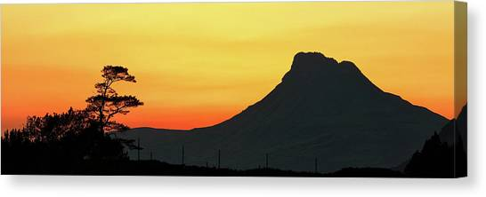 Canvas Print featuring the photograph Stac Polly Mountain Sunset by Grant Glendinning
