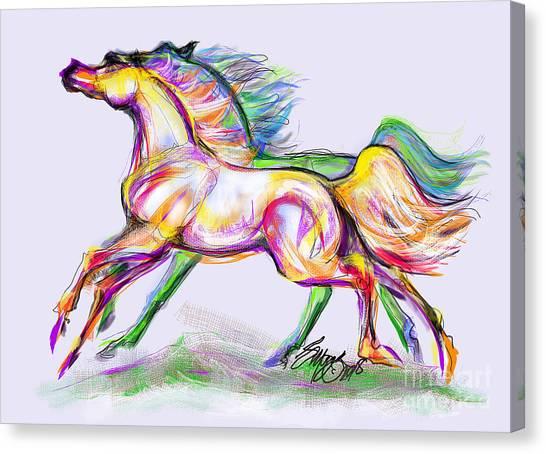 Crayon Bright Horses Canvas Print