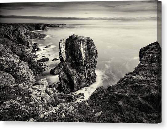 Canvas Print featuring the photograph Stack Rocks - Black And White by Elliott Coleman