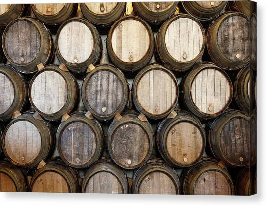 Stacked Oak Barrels In A Winery Canvas Print