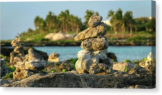 Stacked Rocks On Mexico Beach Canvas Print