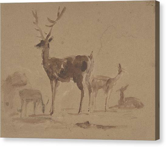Landseer Canvas Print - Stag And Its Young by Edwin Landseer