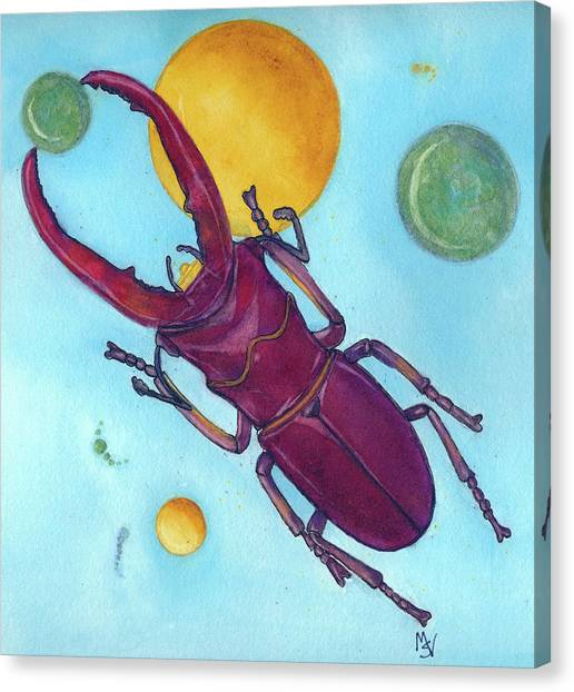 Stag Beetle In Space Canvas Print