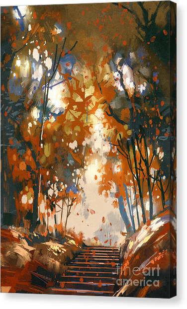 Acrylic Canvas Print - Stairs With Trees In The by Tithi Luadthong