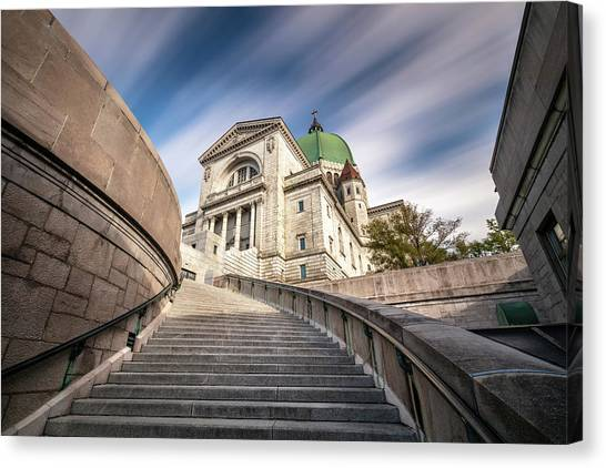 Canvas Print featuring the photograph Stairway To St Joseph Oratory by Pierre Leclerc Photography