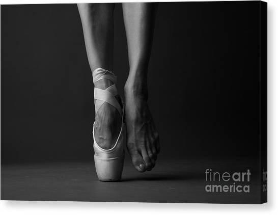 Exercising Canvas Print - Standing On Tip Toe, Monochrome by Anna Jurkovska