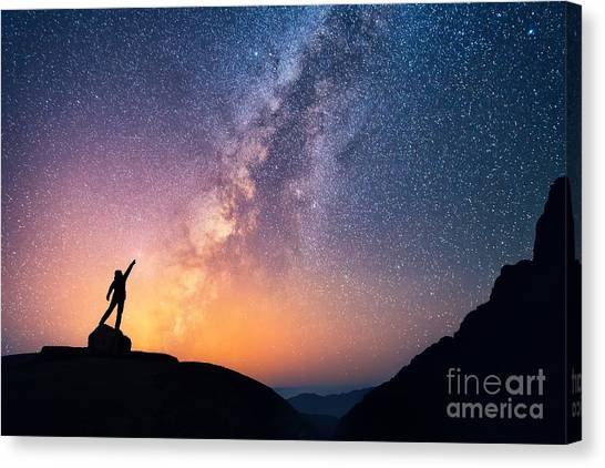 Mountain Climbing Canvas Print - Star-catcher. A Person Is Standing Next by Anton Jankovoy