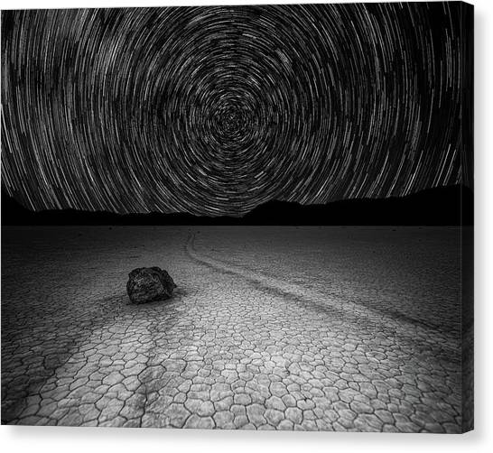 Star Trails Over Racetrack Playa Black And White Canvas Print