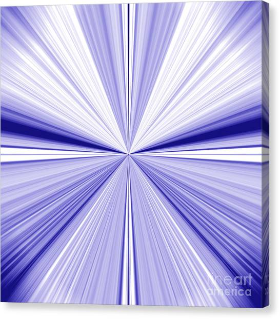 Starburst Light Beams In Blue And White Abstract Design - Plb455 Canvas Print