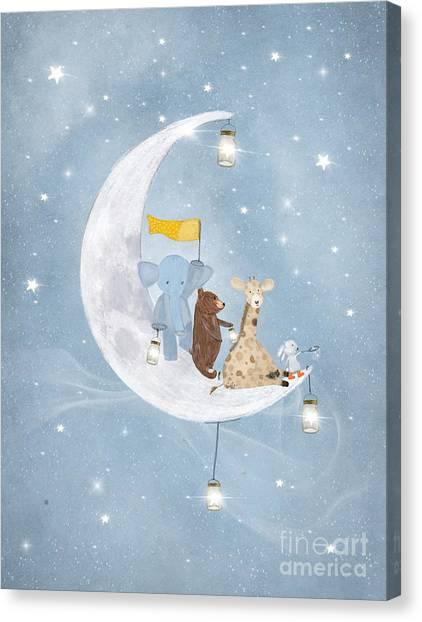 Rabbit Canvas Print - Starlight Wishes With You  by Bri Buckley