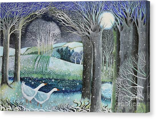 Full Moon Canvas Print - Starry River by Lisa Graa Jensen