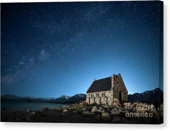 Chapel Canvas Print - Stars And Midnight Blue by Evelina Kremsdorf