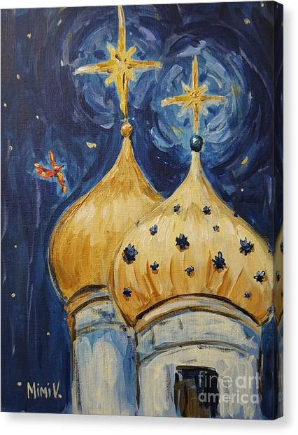 Canvas Print featuring the painting Stars Near And Far by Maria Langgle