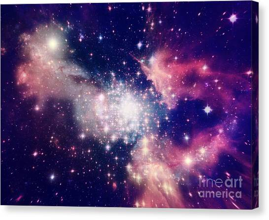 Sun Canvas Print - Stars Of A Planet And Galaxy In A Free by Anatolii Vasilev