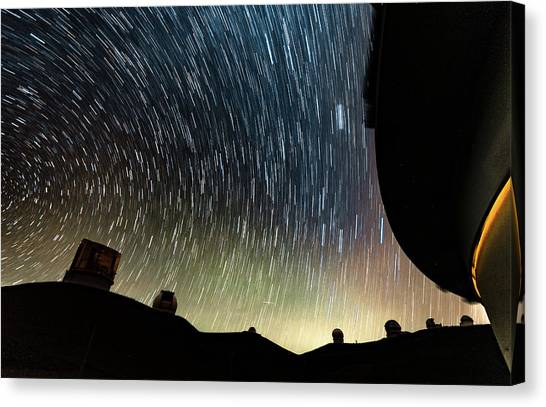 University Of Hawaii Canvas Print - Stars Trails by Thomas Krieger