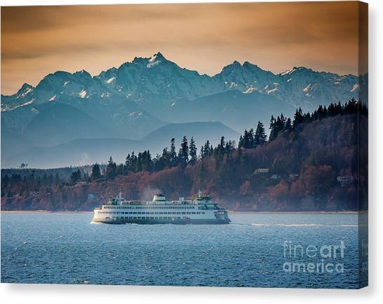 State Ferry And The Olympics Canvas Print