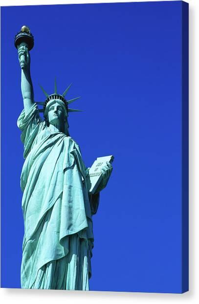 Statue Of Liberty, Lower Manhattan, Low Canvas Print