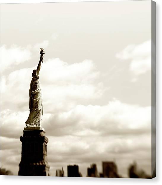 Statue Of Liberty,nyc.sepia Toned Canvas Print