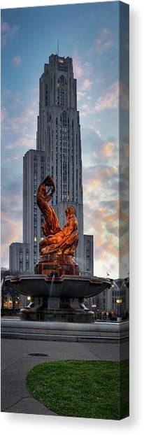 University Of Pittsburgh Canvas Print - Statue Over The Cathedral by Emmanuel Panagiotakis