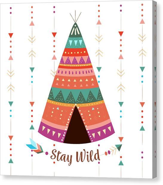Stay Wild - Boho Chic Ethnic Nursery Art Poster Print Canvas Print