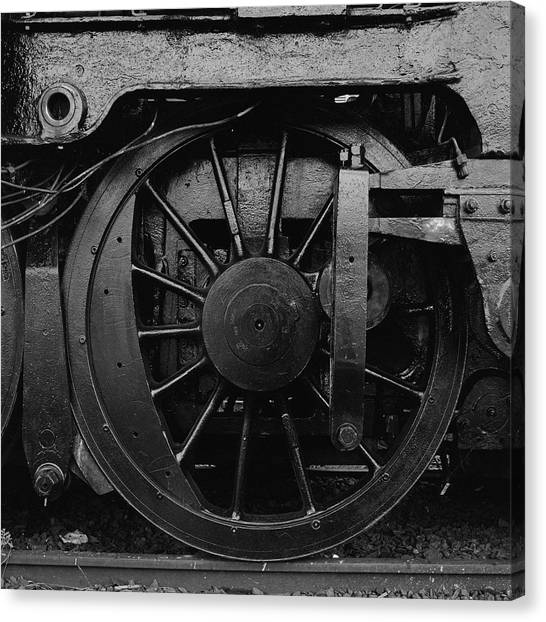 Canberra Canvas Print - Steam Locomotive Wheels by Michael John Hood