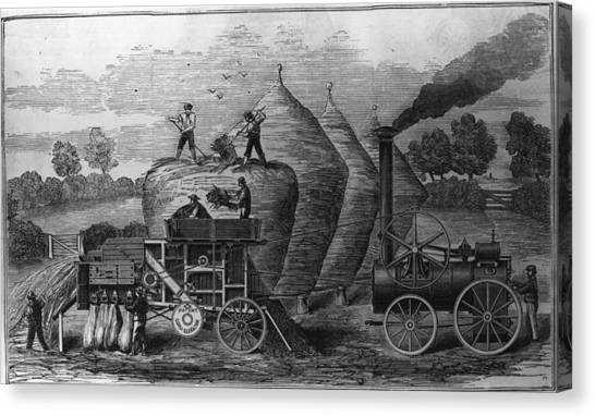 Steam Threshing Canvas Print by Hulton Archive