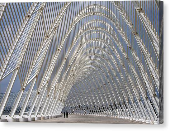 Steel Arches Forming The Agora Walkway Canvas Print
