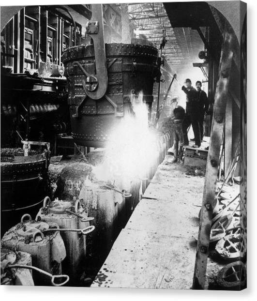Steel Foundry Canvas Print by Hulton Archive