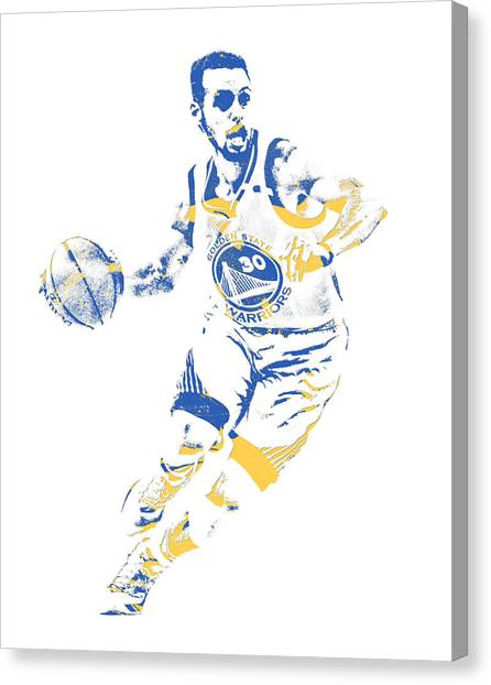 Stephen Curry Canvas Print - Stephen Curry Golden State Warriors Pixel Art 100 by Joe Hamilton