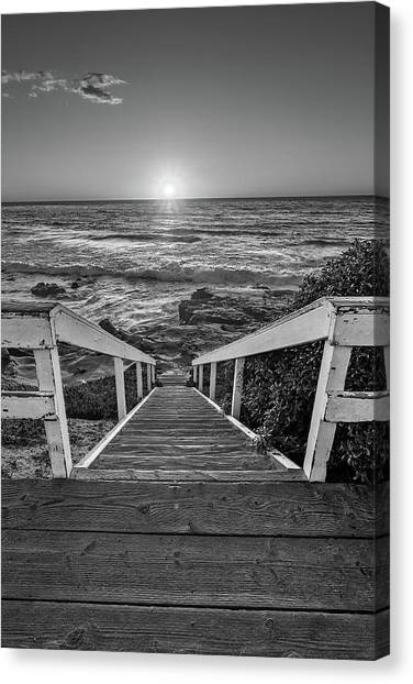 Steps To The Sun  Black And White Canvas Print