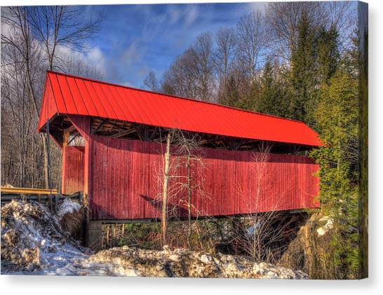 Canvas Print featuring the photograph Sterling Covered Bridge - Stowe, Vt by Joann Vitali