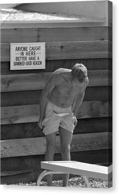 Steve Mcqueen Undresses Outdoors Canvas Print