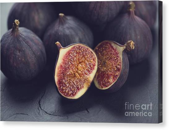 Indoors Canvas Print - Still Life Fruits Ripe Figs, Close-up by Nickola che